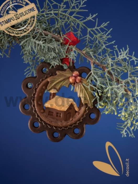 Christmas Hanging Ornament Home and Holly Mould