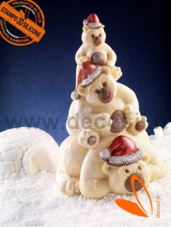 Bears Family - Chocolate christmas tree mould