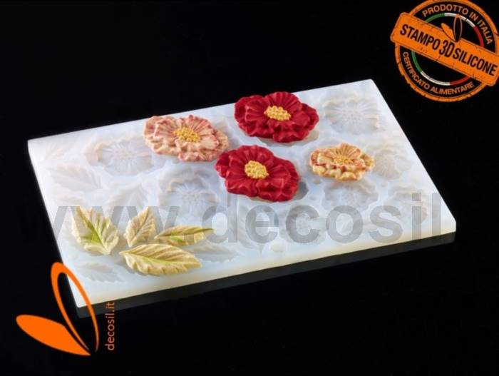Multiple Poppy and Leaves mold
