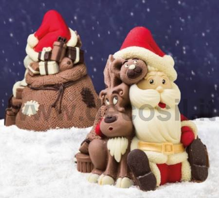 Santa Claus Bear and Reindeer Chocolate Christmas Bell LINEAGUSCIO Mold