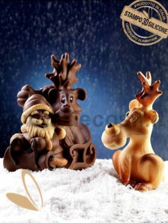 Reindeer and Sleigh with Santa Claus mold