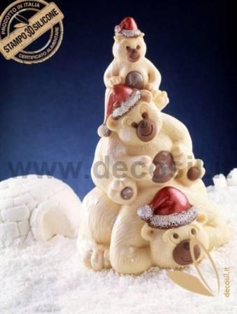 Bears Family Chocolate Christmas Tree LINEAGUSCIO Mold