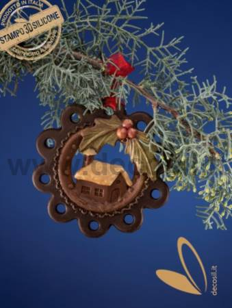 Christmas Hanging Ornament Home and Holly Mold