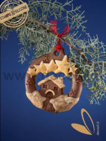 Christmas Hanging Ornament House and Stars Mold